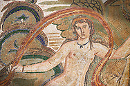 Close up picture of a Roman mosaics design depicting a Nymph lying on a sea horse, from the ancient Roman city of Thysdrus. 3rd century AD, House of Dolphins. El Djem Archaeological Museum, El Djem, Tunisia..   Wall art print by Photographer Paul E Williams If you prefer visit our World Gallery Print Shop To buy a selection of our prints and framed prints desptached  with a 30-day money-back guarantee and is dispatched from 16 high quality photo art printers based around the world. ( not all photos in this archive are available in this shop) https://funkystock.photoshelter.com/p/world-print-gallery<br /> <br /> USEFUL LINKS:<br /> Visit our other HISTORIC AND ANCIENT ART COLLECTIONS for more photos to buy as wall art prints  https://funkystock.photoshelter.com/gallery-collection/Ancient-Historic-Art-Photo-Wall-Art-Prints-by-Photographer-Paul-E-Williams/C00002uapXzaCx7Y