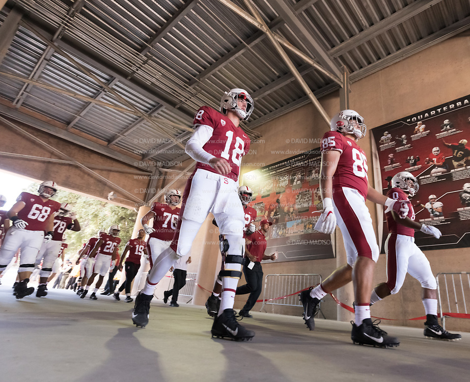 PALO ALTO, CA - OCTOBER 2:  Tanner McKee #18 and Shield Taylor #85 of the Stanford Cardinal and teammates enter the stadium at the start of the second half of an NCAA Pac-12 college football game against the Stanford Cardinal on October 2, 2021 at Stanford Stadium in Palo Alto, California.  (Photo by David Madison/Getty Images)