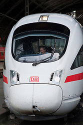 Detail of German DB Deutsche Bahn ICE Inter City Express high speed train at Leipzig railway station in Germany