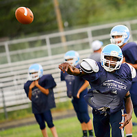 082113  Adron Gardner/Independent<br /> <br /> Window Rock Scout Tony Walker releases a pass during football practice in Fort Defiance Wednesday.