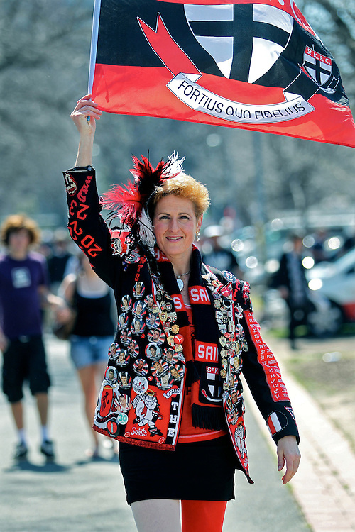 AFL Grand Final Replay, MCG,  St Kilda Fan Michelle Mauerhofer before the game  - Pic By Craig Sillitoe 02/09/2010 melbourne photographers, commercial photographers, industrial photographers, corporate photographer, architectural photographers, This photograph can be used for non commercial uses with attribution. Credit: Craig Sillitoe Photography / http://www.csillitoe.com<br /> <br /> It is protected under the Creative Commons Attribution-NonCommercial-ShareAlike 4.0 International License. To view a copy of this license, visit http://creativecommons.org/licenses/by-nc-sa/4.0/.