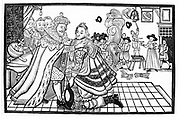 James I and VI welcoming Prince Charles home from Spain, 1623. Charles I (1600-1649) king of Great Britain and Ireland from 1625, had been to Spain to court the Infanta Maria. Spain would only agree to the marriage if Charles converted to Roman Catholicism.