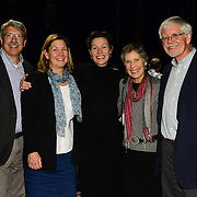 NHPR's Virginia Prescott backstage with friends after interviewing author Doris Kearns Goodwin during a Writers on a New England Stage show at The Music Hall in Portsmouth, NH