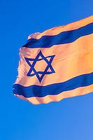 Israeli flag, Mitzpe Ramon, Negev Desert, Israel.