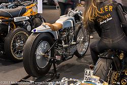 Harley-Davidson Versilia's custom 1950 Panhead in the Low Ride custom bike show during the Motor Bike Expo. Verona, Italy. Sunday January 22, 2017. Photography ©2017 Michael Lichter.