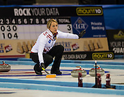 """Glasgow. SCOTLAND. Denmark's Madeleine DUPONT, offering signals to team team mates,  during the   """"Round Robin"""" Games. Le Gruyère European Curling Championships. 2016 Venue, Braehead  Scotland<br /> Monday  21/11/2016<br /> <br /> [Mandatory Credit; Peter Spurrier/Intersport-images]"""