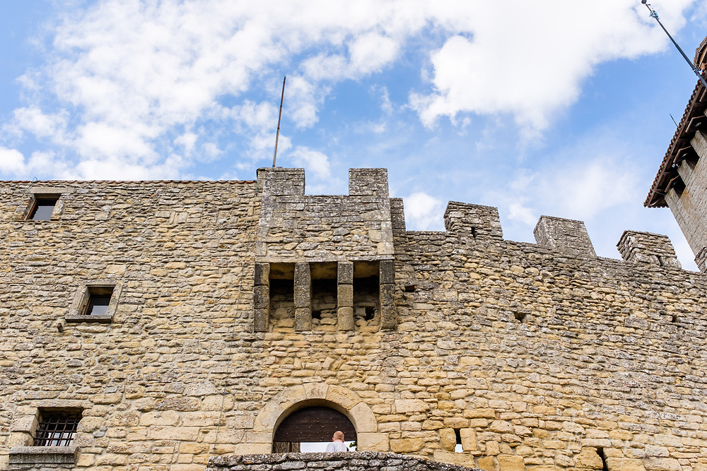Detail of Guaita Tower, a medieval fortress in the tiny country of San Marino