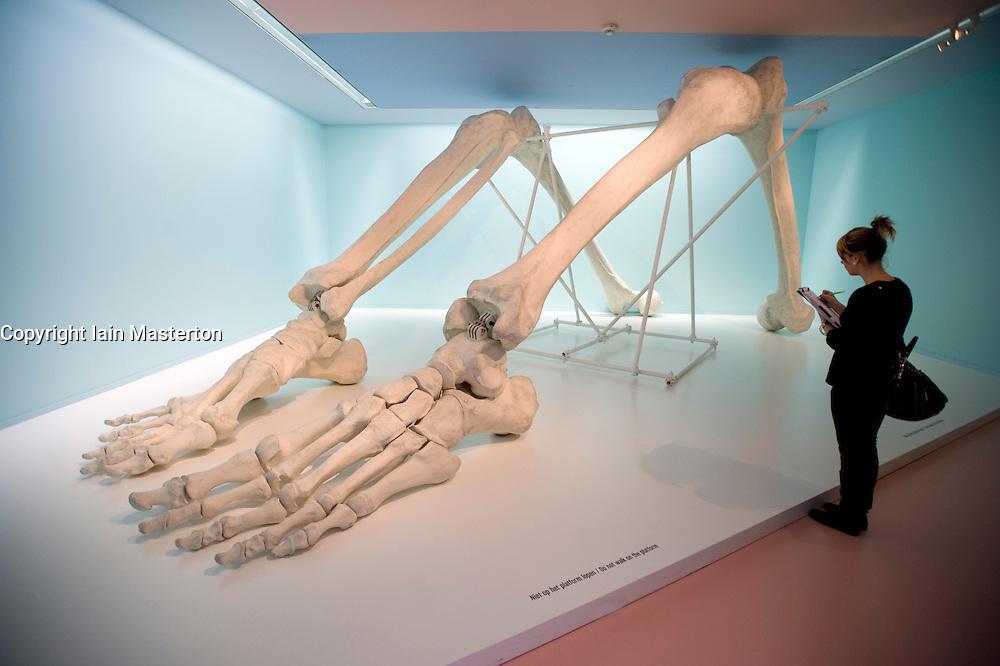 Large modern art sculpture of skeleton at Groningen Museum in Netherlands
