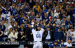 October 31, 2017 - Los Angeles, CA, USA - Los Angeles Dodgers' Yasiel Puig (66) rally the crowd in the 6th inning of game six of a World Series baseball game at Dodger Stadium on Tuesday, Oct. 31, 2017 in Los Angeles. (Credit Image: © Keith Birmingham/Los Angeles Daily News via ZUMA Wire)