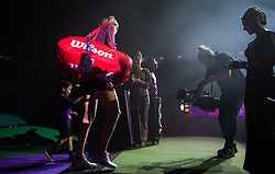 October 21, 2018 - Kallang, SINGAPORE - Petra Kvitova of the Czech Republic walks onto the court for her first-round match at the 2018 WTA Finals tennis tournament (Credit Image: © AFP7 via ZUMA Wire)