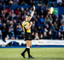 Referee Frank Murphy awards a penalty<br /> <br /> Photographer Simon King/Replay Images<br /> <br /> Guinness PRO14 Round 2 - Cardiff Blues v Edinburgh - Saturday 5th October 2019 -Cardiff Arms Park - Cardiff<br /> <br /> World Copyright © Replay Images . All rights reserved. info@replayimages.co.uk - http://replayimages.co.uk