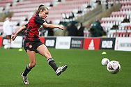 Manchester United midfielder Ella Toone (7) warming up during the FA Women's Super League match between Manchester United Women and Manchester City Women at Leigh Sports Village, Leigh, United Kingdom on 14 November 2020.