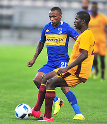 Cape Town-180220 Cape Town City midfielder Surprise Ralani challenged by Lindo Mkhonta  of Young Buffaloes  Swaziland in a second leg of the CAF confederations game at Athlone stadium .City is leading 1-0 on aggregate after winning 1-0 away two weeks back in Swaziland.photograph:Phando Jikelo/African News Agency/ANA