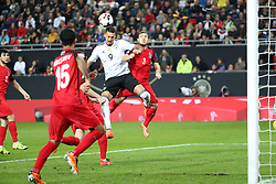KAISERSLAUTERN, Oct. 9, 2017  Sandro Wagner (2nd R) of Germany scores during the FIFA 2018 World Cup Qualifiers Group C match between Germany and Azerbaijan at Fritz Walter Stadium in Kaiserslautern, Germany, on Oct. 8, 2017. Germany won 5-1. (Credit Image: © Ulrich Hufnagel/Xinhua via ZUMA Wire)