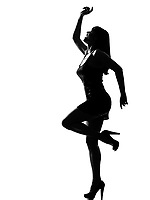 stylish silhouette caucasian beautiful woman dancing full length on studio isolated white background