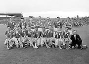 Neg No:.598/8141-8144...1954AIJHCF2...12.09.1954, 09.12.1954, 12th September 1954...All Ireland Junior Hurling Championship - Home Final..Limerick.3-5.Antrim.1-8..Limerick. ..P. Cunneen (goal), J. OSullivan, Jim Keogh, P. ONeill, J. Dooley, S. Murphy, Jim Quaid, Jack Quaid, W. Dooley, A. Raleigh, M. Carmody (Captain), V. Cobbe, M. Sheehan, C. Daly, J. Barry. .M. Carmody (Captain).P. Cunneen (goal)..London. .E. Moloney, P. Murphy, K. Naughton, M. Butler, M. Lyons, W. Brophy (Captain), M. Fortune, S. Costelloe, Joe Duggan, T. Morrissey, S. OSullivan, D. Bransfield, M. Conway, P. Stapleton, S. Marmion.Subs: P. Cleary for M. Fortune, J. Barry for S. Marmion.W. Brophy (Captain).