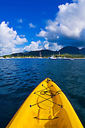 Kayaking on Hanalei Bay, Island of Kauai, Hawaii