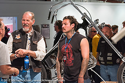 Keith and grandson Franky Ball at the Old Iron - Young Blood exhibition media and industry reception in the Motorcycles as Art gallery at the Buffalo Chip during the annual Sturgis Black Hills Motorcycle Rally. Sturgis, SD. USA. Sunday August 6, 2017. Photography ©2017 Michael Lichter.