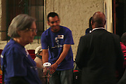 "19 January 2015-Santa Barbara, CA: The Arlington Theater Program;  Passing the Donation Jars, Dr. Wallace Shepherd Jr. Pastor.  Santa Barbara Honors Dr. Martin Luther King Jr. with a Day of Celebration.  The Santa Barbara MLK, Jr. Committee chose ""Drum Majors for Justice"" as it's theme for the day which included a Pre-March Program in De la Guerra Plaza followed by a march up State Street to the Arlington Theater for speakers, music and poetry.  The program concluded with a Community Lunch at the First United Methodist Church in Santa Barbara.  Photo by Rod Rolle"
