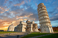 View of the Romanesque Leaning Tower of Pisa, the Bell tower sunset, Piazza del Miracoli , Pisa, Italy .  The Leaning Tower of Pisa (torre pendente di Pisa) or simply the Tower of Pisa  is the campanile, or freestanding bell tower, of the cathedral of the Italian city of Pisa, known worldwide for its nearly four-degree lean, the result of an unstable foundation. The Leaning Tower of Pisa is situated behind the Pisa Cathedral and is the third-oldest structure in the city's Cathedral Square (Piazza del Duomo). The height of the Leaning Tower of Pisa is 55.86 metres (183.27 feet) from the ground on the low side and 56.67 metres (185.93 feet) on the high side. The width of the walls at the base is 2.44 m (8 ft 0.06 in). The Leaning Tower of Pisa has 296 or 294 steps; the seventh floor has two fewer steps on the north-facing staircase. The Leaning Tower of Pisa began to lean during construction in the 12th century, due to soft ground which could not properly support the structure's weight, and it worsened through the completion of construction in the 14th century. By 1990, the tilt of the tower had reached 5.5 degrees .<br /> <br /> Visit our ITALY HISTORIC PLACES PHOTO COLLECTION for more   photos of Italy to download or buy as prints https://funkystock.photoshelter.com/gallery-collection/2b-Pictures-Images-of-Italy-Photos-of-Italian-Historic-Landmark-Sites/C0000qxA2zGFjd_k<br /> .<br /> <br /> Visit our MEDIEVAL PHOTO COLLECTIONS for more   photos  to download or buy as prints https://funkystock.photoshelter.com/gallery-collection/Medieval-Middle-Ages-Historic-Places-Arcaeological-Sites-Pictures-Images-of/C0000B5ZA54_WD0s