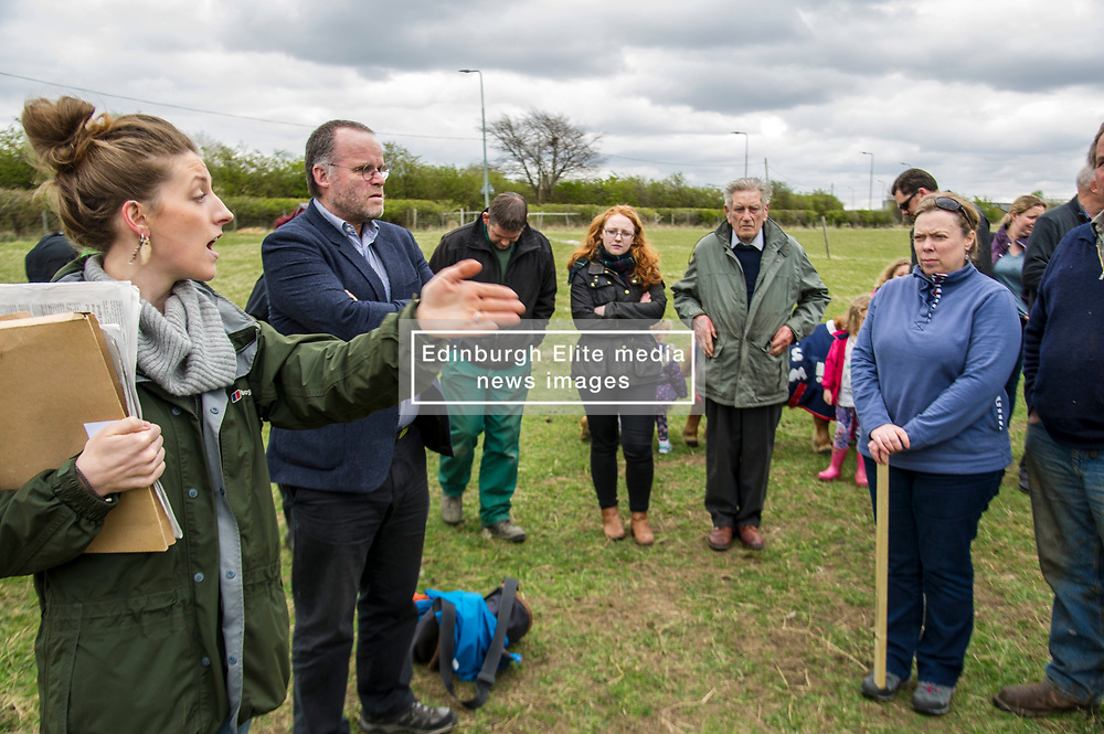 Pictured: Natalie Holbrook, Save Damhead Campaign, introduced Andy Wightman to the protesters<br /> <br /> The Scottish Green Party's Andy Wightman, MSP, joined local election candidate Ian Baxter at the proposed site of a new film studio in Edinburgh ahead of the local council elections.<br /> Ger Harley | EEm 17 April 2017