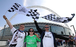 Fulham fans pose on Wembley Way during the Sky Bet Championship Final at Wembley Stadium, London.