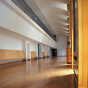 Stuttgart, Germany, Baden - Württemberg 2002: Interior view of the third floor, of the Music School of History in Stuttgart completed in 1992, by James Stirling and Michael Wilford Architects. Photograph by Alejandro Sala | Visit SHOP Images to purchase a digital file, explore other Alejandro Sala images. |  AS • Atelier• Architecture + Photography