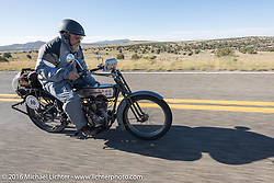 Bill Page of Kansas riding his single-cylinder 1915 Harley-Davidson class-2 motorcyle during the Motorcycle Cannonball Race of the Century. Stage-13 ride from Williams, AZ to Lake Havasu CIty, AZ. USA. Friday September 23, 2016. Photography ©2016 Michael Lichter.