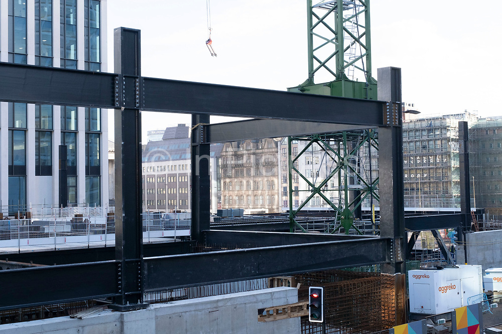 Steel frame of a new building under construction as part of the redevelopment of the Paradise area on 26th November 2020 in Birmingham, United Kingdom. Paradise, formerly Paradise Circus, is the name given to an area of approximately 7 hectares in Birmingham city centre between Chamberlain and Centenary Squares. The area has been part of the civic centre of Birmingham since the 19th century. From 2015 Argent Group will redevelop the area into new mixed use buildings and public squares.