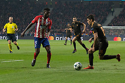 November 22, 2017 - Madrid, Madrid, Spain - Thomas Partey (L) and Perotti (R)..during Atletico de Madrid won by 2 to 0 whit goals of Griezmann and Gameiro against Roma. (Credit Image: © Jorge Gonzalez/Pacific Press via ZUMA Wire)