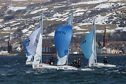 Day 1 of the RYA Youth National Championships 2013 held at Largs Sailing Club, Scotland from the 31st March - 5th April. ..420 Fleet downwind with 53974, Ben.HAZELDINE, Rhos HAWES, Fpsc/rlymyc..For Further Information Contact..Matt Carter.Racing Communications Officer.Royal Yachting Association.M: 07769 505203.E: matt.carter@rya.org.uk ..Image Credit Marc Turner / RYA..