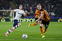Preston North End's Josh Harrop slips the ball past Hull City's Max Clark<br /> <br /> Photographer Andrew Kearns/CameraSport<br /> <br /> The EFL Sky Bet Championship - Hull City v Preston North End - Tuesday 26th September 2017 - KC Stadium - Hull<br /> <br /> World Copyright © 2017 CameraSport. All rights reserved. 43 Linden Ave. Countesthorpe. Leicester. England. LE8 5PG - Tel: +44 (0) 116 277 4147 - admin@camerasport.com - www.camerasport.com