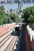 Eastern Europe, Hungary, Budapest, Funicular on the bank of the River Danube