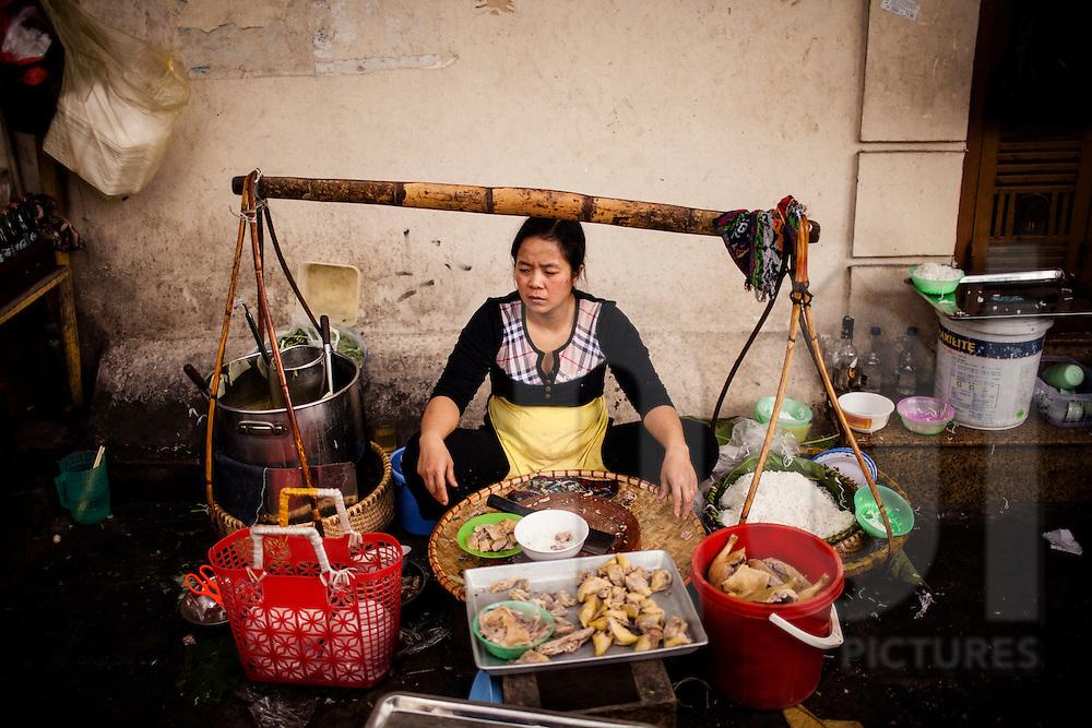 Portrait of a street noodle vendor in Hanoi, Vietnam, Southeast Asia