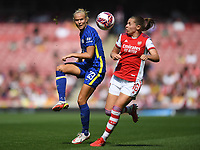 Football - 2021 / 2022 Women's Super League - Arsenal vs Chelsea - Emirates Stadium - Sunday 5th September 2021<br /> <br /> Chelsea FC Women's Pernille Harder holds off the challenge from Arsenal Women's Noelle Maritz.<br /> <br /> COLORSPORT/Ashley Western