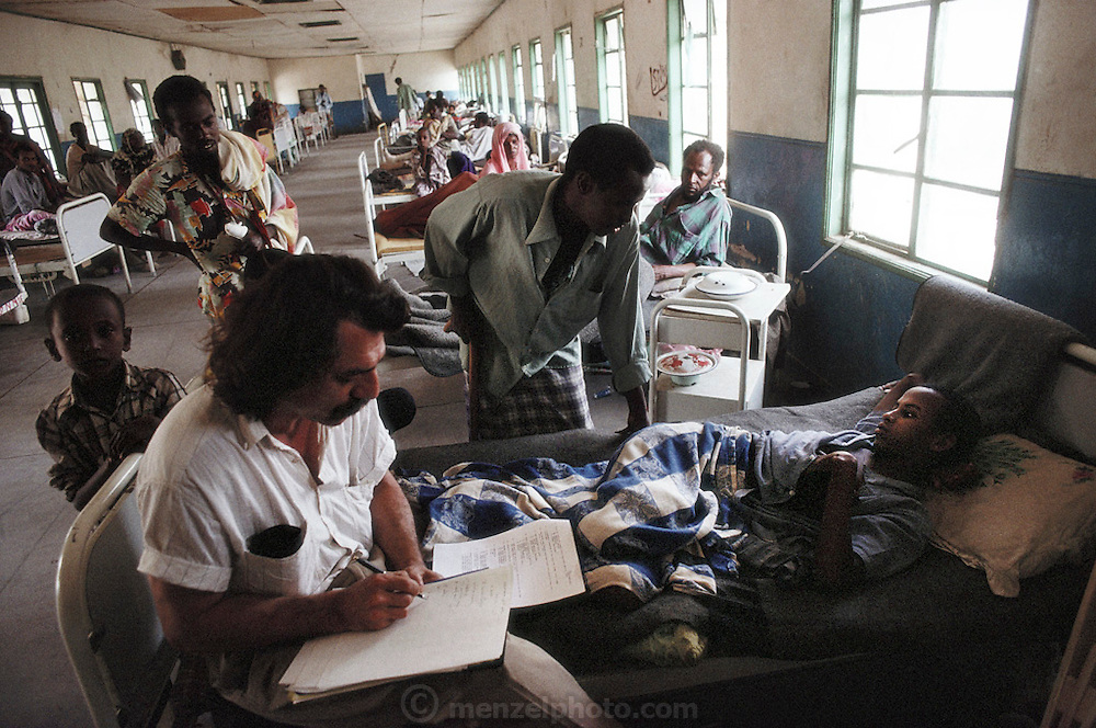 Dr. Chris Giannou of the International Committee of the Red Cross with a patient who is recovering from a landmine blast. In the ICRC hospital in Hargeisa, capital of Somaliland. Somaliland is the breakaway republic in northern Somalia that declared independence in 1991 after 50,000 died in civil war March 1992.