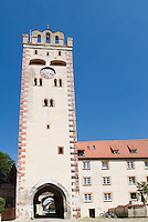 Historic tower on former defensive wall in Landsberg, Germany