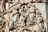 Bas-relief sculpture panel scene of the Tree Kings bringing gifts to the baby Christ by Maitani around 1310 on the14th century Tuscan Gothic style facade of the Cathedral of Orvieto, Umbria, Italy .<br /> <br /> Visit our ITALY HISTORIC PLACES PHOTO COLLECTION for more   photos of Italy to download or buy as prints https://funkystock.photoshelter.com/gallery-collection/2b-Pictures-Images-of-Italy-Photos-of-Italian-Historic-Landmark-Sites/C0000qxA2zGFjd_k<br /> .<br /> <br /> Visit our MEDIEVAL PHOTO COLLECTIONS for more   photos  to download or buy as prints https://funkystock.photoshelter.com/gallery-collection/Medieval-Middle-Ages-Historic-Places-Arcaeological-Sites-Pictures-Images-of/C0000B5ZA54_WD0s
