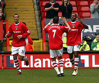 Photo: Chris Ratcliffe.<br />Charlton Athletic v Brentford. The FA Cup. 18/02/2006.<br />Darren Bent (R) of Charlton celebrates his opening goal.