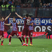 Trabzonspor's players celebrate goal during their Turkish SuperLeague Derby match Trabzonspor between Galatasaray at the Avni Aker Stadium at Trabzon Turkey on Sunday, 19 April 2015. Photo by TVPN/TURKPIX