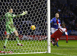 Leicester City's Ritchie De Laet scores the second goal - Photo mandatory by-line: Matt Bunn/JMP - Tel: Mobile: 07966 386802 25/01/2014 - SPORT - FOOTBALL - King Power Stadium - Leicester - Leicester City v Middlesbrough - Sky Bet Championship