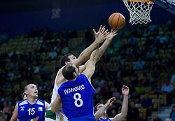 Vladimir Golubovic of Olimpija and Vuk Ivanovic at third finals basketball match of Slovenian Men UPC League between KK Union Olimpija and KK Helios Domzale, on June 2, 2009, in Arena Tivoli, Ljubljana, Slovenia. (Photo by Vid Ponikvar / Sportida)