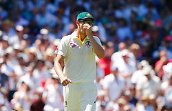 Australia's Josh Hazelwood reacts after dropping a catch during day two of the Ashes Test match at Sydney Cricket Ground.