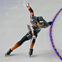 Shannon Rempel skates in the Ladies 1500m at the Essent World Cup Speedskating Event at the Calgary Olympic Oval
