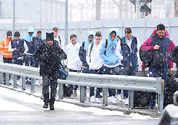 Ederson, Leroy Sane, Phil Foden, Bernardo Silva and Ilkay Gundogan and The Manchester City team are seen at Manchester Piccadilly Train Station on Thursday morning as they make their trip to London to face Arsenal in the premier league