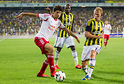 06.08.2013, Sukru Saracoglu Stadion, Istanbul, TUR, UEFA CL Qualifikation, Fenerbahce Istanbul vs FC Red Bull Salzburg, Rueckspiel, im Bild Andre Ramalho (RB Salzburg, #5) gegen Dirk Kuyt (Fenerbahce, 11) und Moussa Sow (Fenerbahce, #7) // during the UEFA Champions League Qualification 2nd Leg Match between Fenerbahce Istanbul and FC Red Bull Salzburg at the Sukru Saracoglu Stadium, Turkey on 2013/08/06.<br /> <br /> ***NETHERLANDS ONLY***