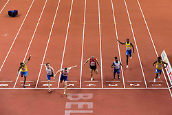 Austin Hamilton of Sweden, Ján Volko of Slovakia, Richard Kilty of Great Britain, Pascal Mancini of Switzerland, Theo Etienne of France, Sulayman Bah of Sweden and Odain Rose of Sweden compete at finish line in the 60m Men Final on day two of the 2017 European Athletics Indoor Championships at the Kombank Arena on March 4, 2017 in Belgrade, Serbia. Photo by Vid Ponikvar / Sportida