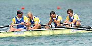 FISA World Cup Rowing Munich Germany..Photo Peter Spurrier 29/05/2004. Finals day. GBR M4- Bow Steve Williams, Tom Stallard, Alex Partridge and Matt Pinsent [Mandatory Credit: Peter Spurrier: Intersport Images].