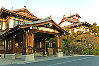 Built in 1909, the Nara Hotel is located on a hill beside Nara Park providing an excellent view of the historical sights in Nara such as Great Buddha Hall of Todai-ji Temple, the Five-Storied Pagoda of Kofuku-ji Temple and Kasuga Forest.  With over 90 years of history, hotel is designed to look traditionally Japanese, but the service and facilities provided are of international class standard