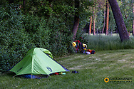 Bicycle touring campsite at Fort Ransom State Park, North Dakota, USA